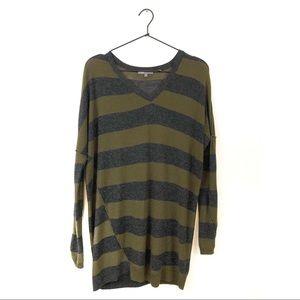 Vince Striped Wool Blend Lightweight Tunic Sweater